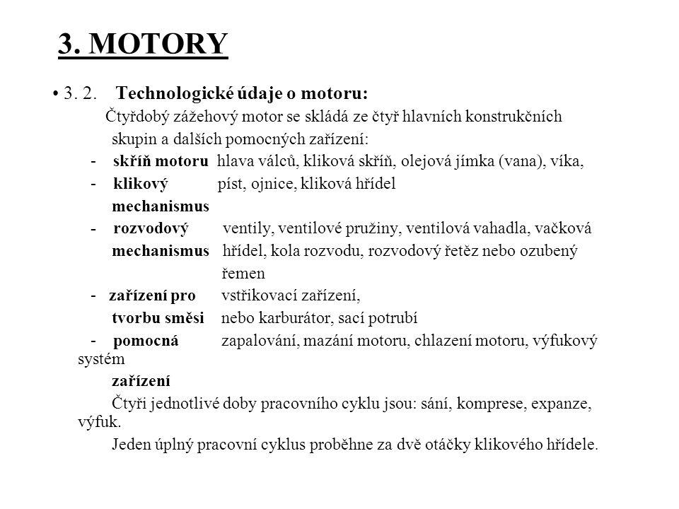 3. MOTORY • 3. 2. Technologické údaje o motoru: