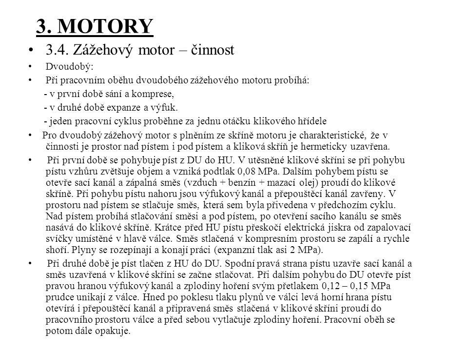 3. MOTORY 3.4. Zážehový motor – činnost Dvoudobý: