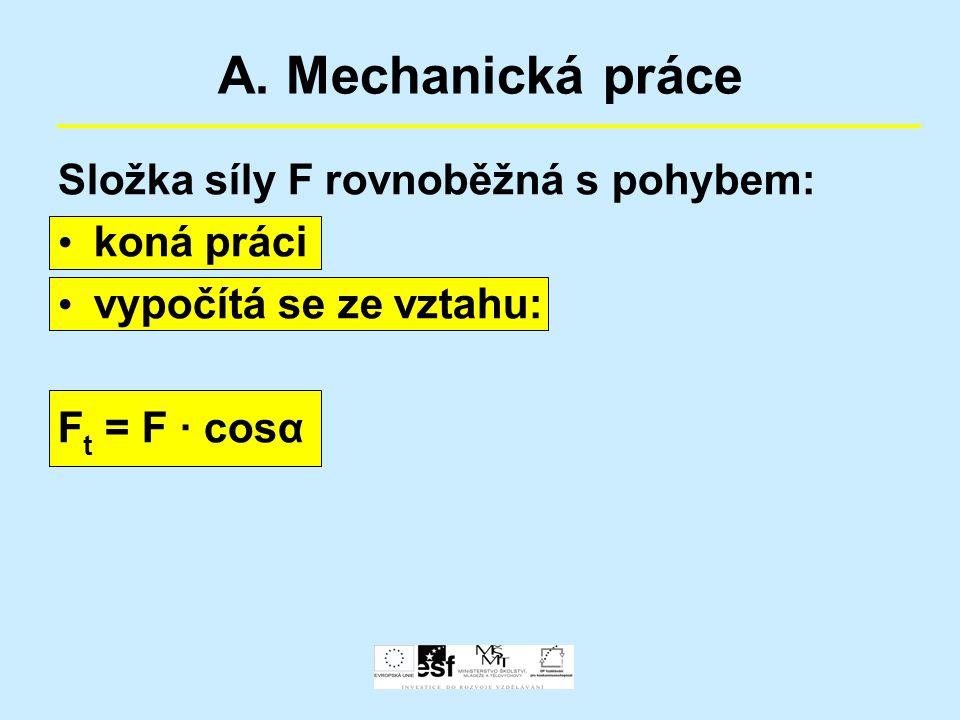 A. Mechanická práce Složka síly F rovnoběžná s pohybem: koná práci