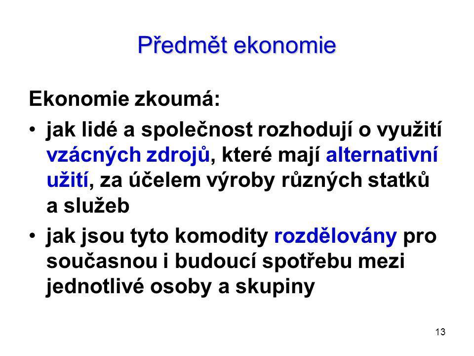 Předmět ekonomie Ekonomie zkoumá: