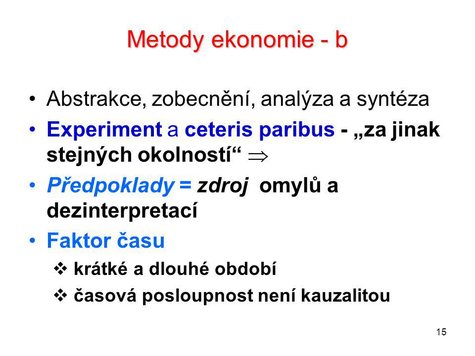 Metody ekonomie - b Abstrakce, zobecnění, analýza a syntéza