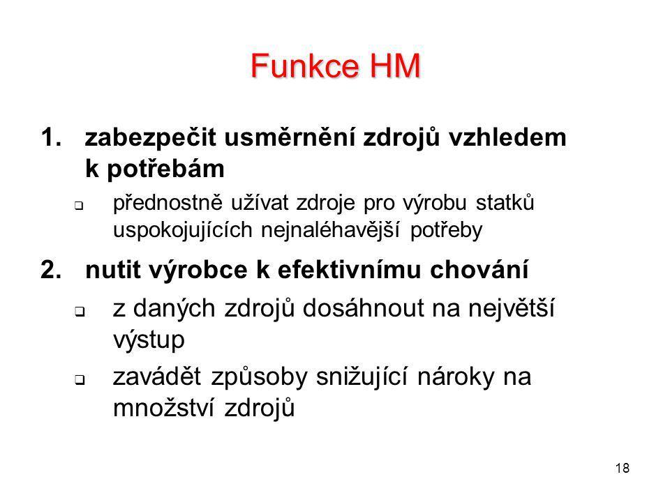 Funkce HM zabezpečit usměrnění zdrojů vzhledem k potřebám