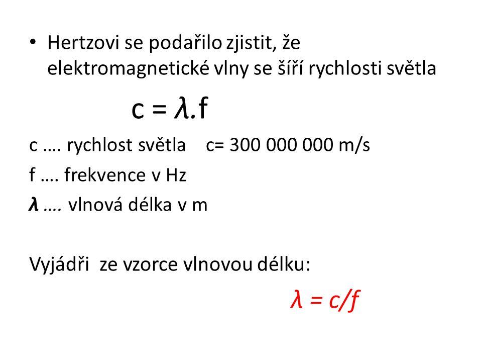 Hertzovi se podařilo zjistit, že elektromagnetické vlny se šíří rychlosti světla