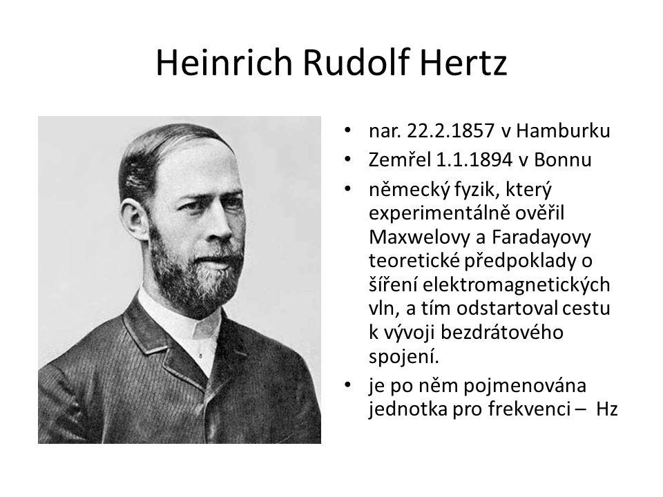 Heinrich Rudolf Hertz nar. 22.2.1857 v Hamburku