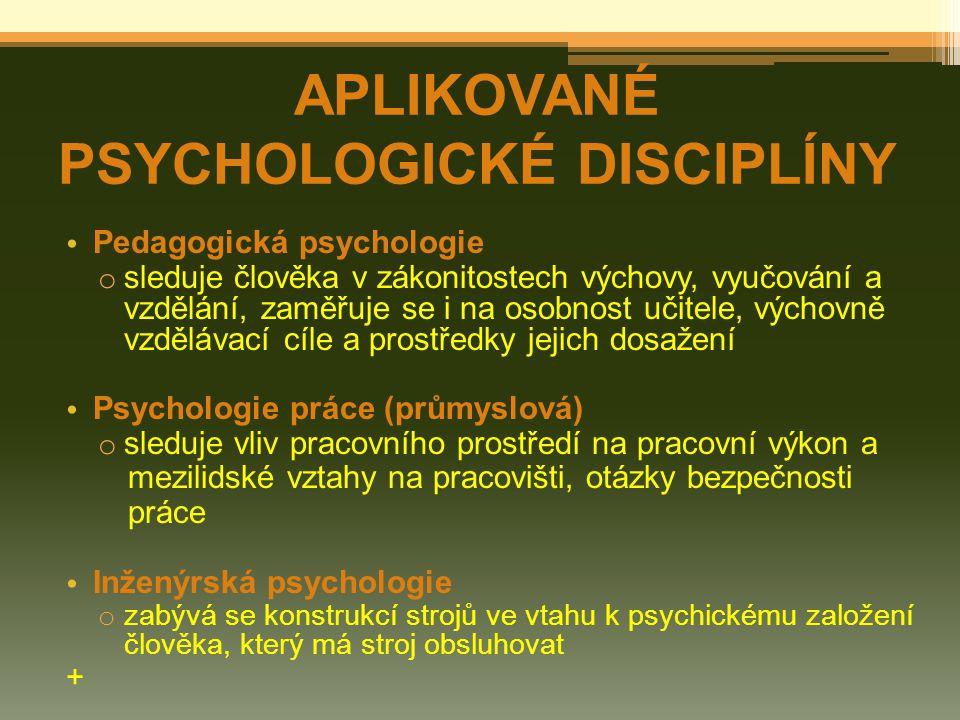 APLIKOVANÉ PSYCHOLOGICKÉ DISCIPLÍNY