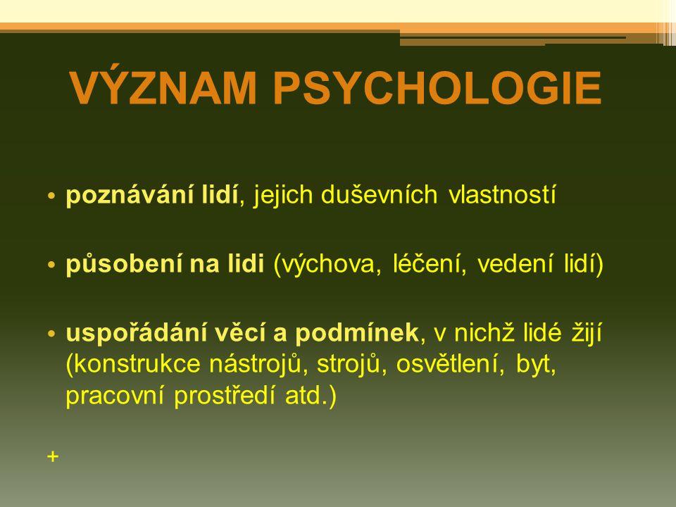 VÝZNAM PSYCHOLOGIE poznávání lidí, jejich duševních vlastností