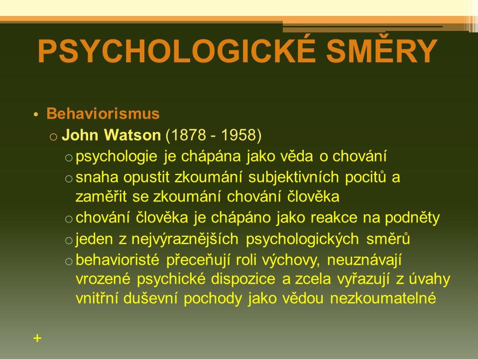 PSYCHOLOGICKÉ SMĚRY Behaviorismus John Watson (1878 - 1958)