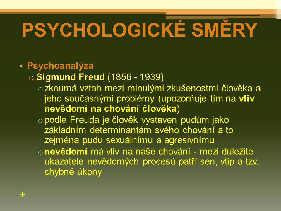 PSYCHOLOGICKÉ SMĚRY + Psychoanalýza Sigmund Freud (1856 - 1939)