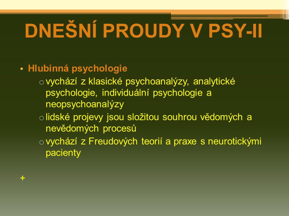 DNEŠNÍ PROUDY V PSY-II Hlubinná psychologie