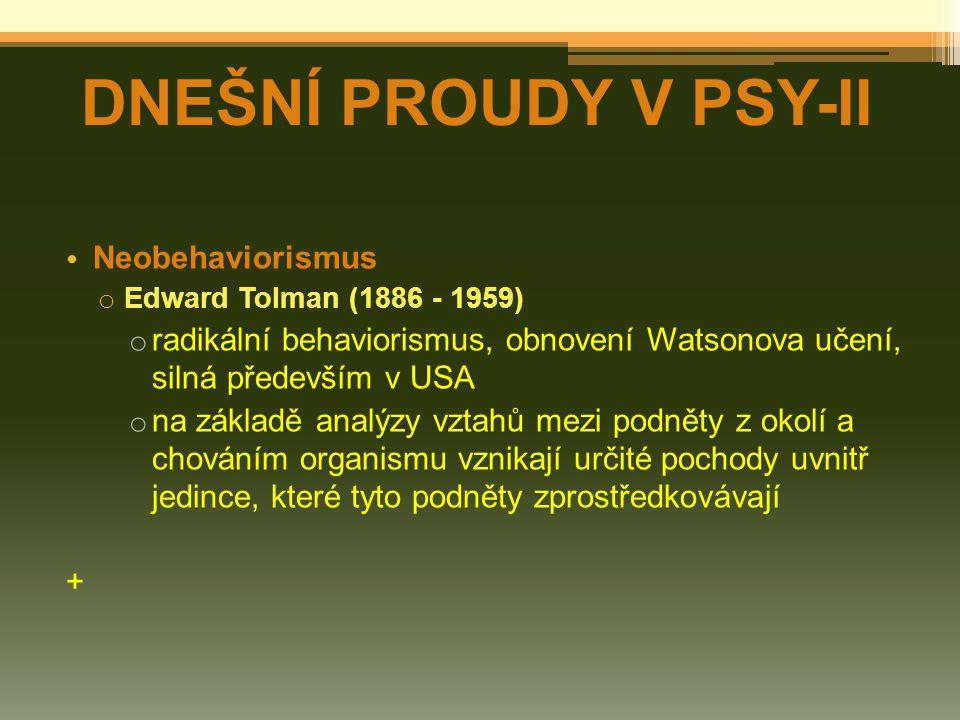 DNEŠNÍ PROUDY V PSY-II Neobehaviorismus