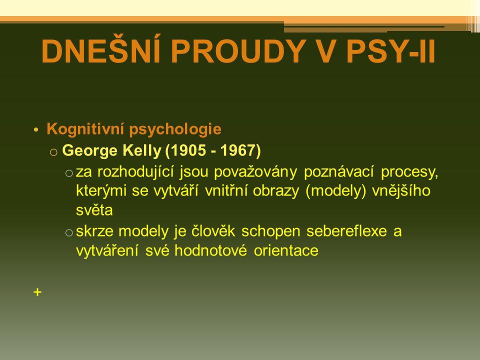 DNEŠNÍ PROUDY V PSY-II Kognitivní psychologie