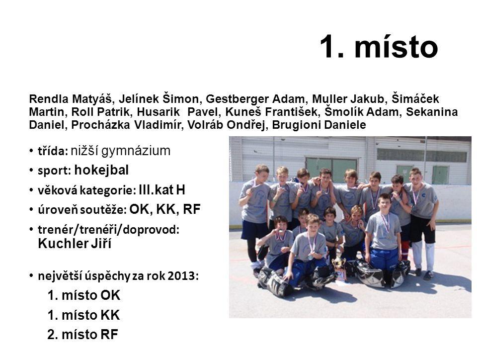 1. místo třída: nižší gymnázium sport: hokejbal