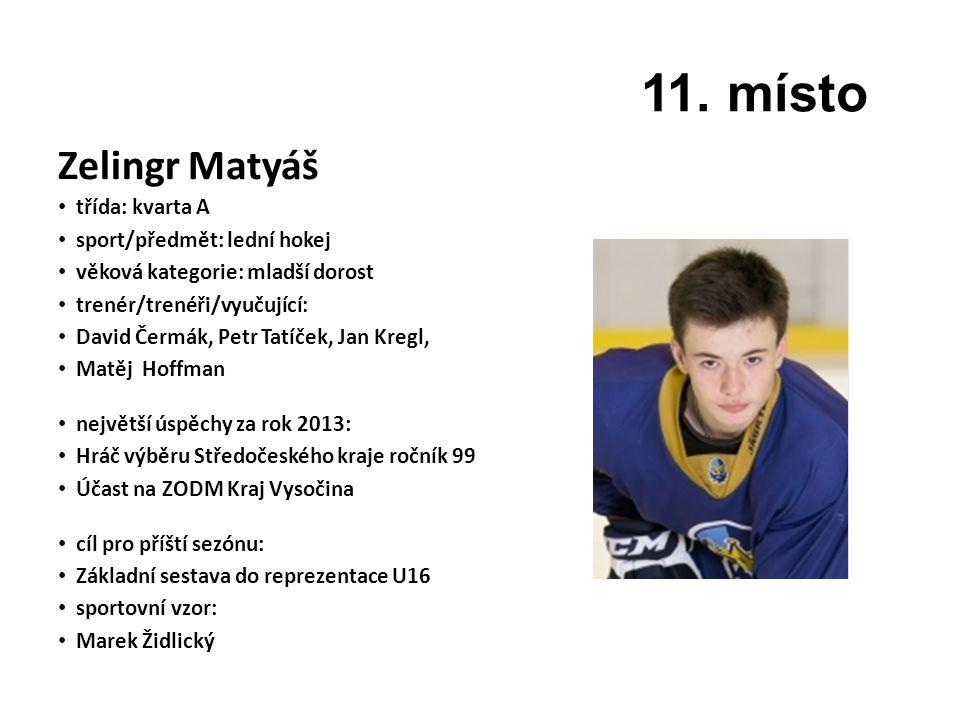 11. místo Zelingr Matyáš třída: kvarta A sport/předmět: lední hokej