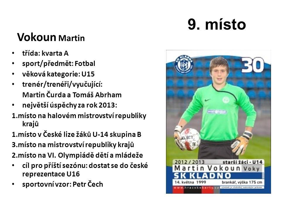 9. místo Vokoun Martin třída: kvarta A sport/předmět: Fotbal