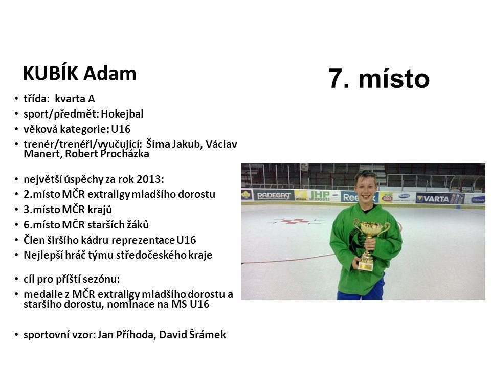 7. místo KUBÍK Adam třída: kvarta A sport/předmět: Hokejbal
