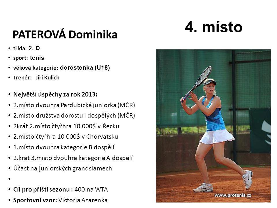 4. místo PATEROVÁ Dominika Největší úspěchy za rok 2013: