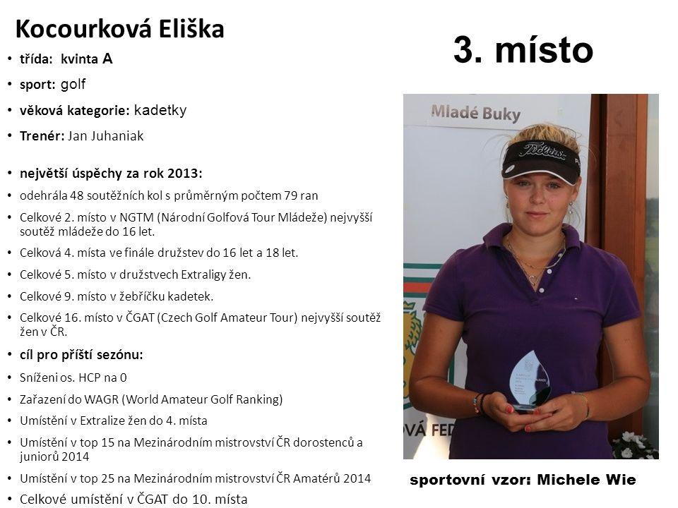 3. místo Kocourková Eliška třída: kvinta A sport: golf