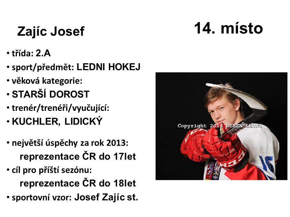 14. místo Zajíc Josef třída: 2.A sport/předmět: LEDNI HOKEJ