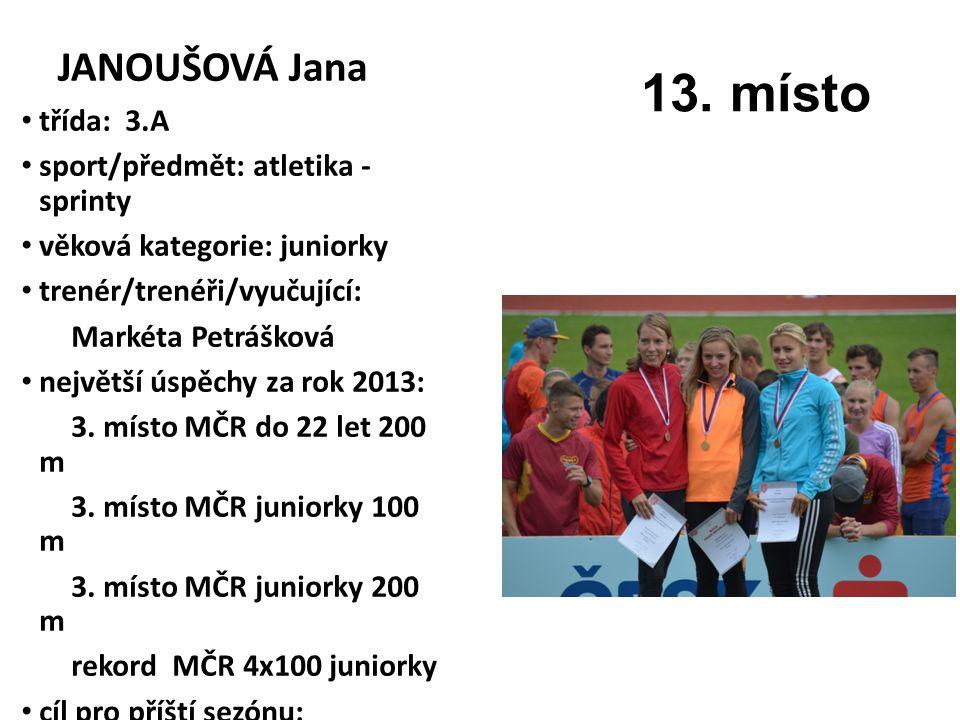 13. místo JANOUŠOVÁ Jana třída: 3.A sport/předmět: atletika - sprinty