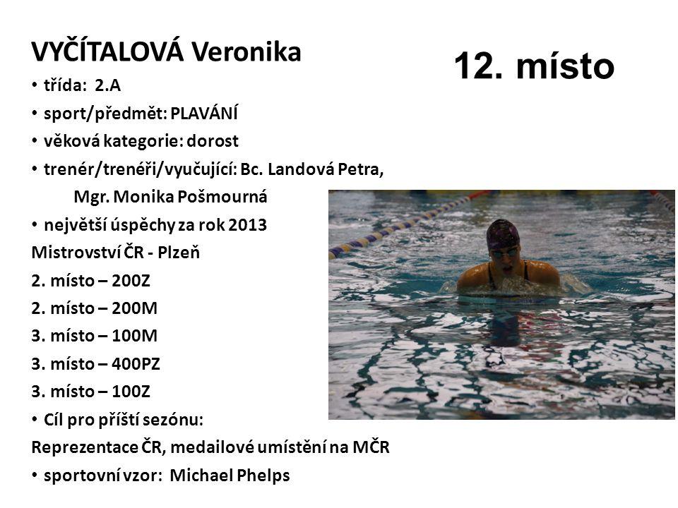 12. místo VYČÍTALOVÁ Veronika třída: 2.A sport/předmět: PLAVÁNÍ