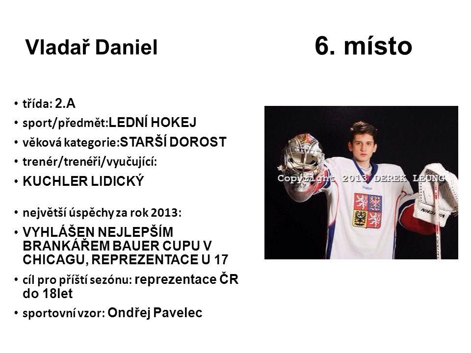 6. místo Vladař Daniel třída: 2.A sport/předmět:LEDNÍ HOKEJ