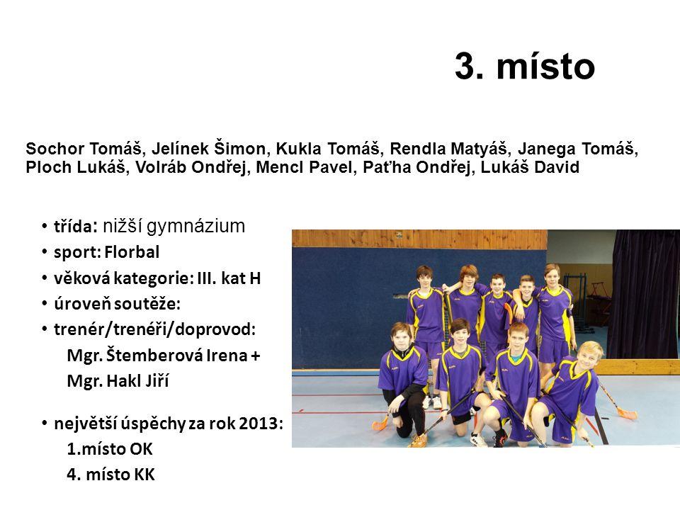 3. místo třída: nižší gymnázium sport: Florbal