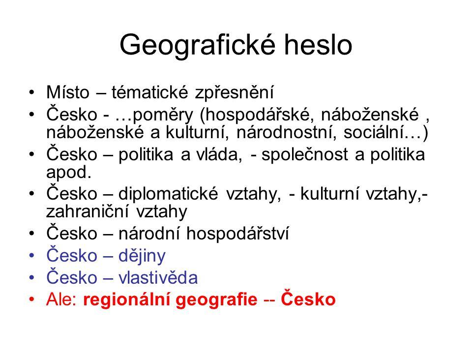 Geografické heslo Místo – tématické zpřesnění