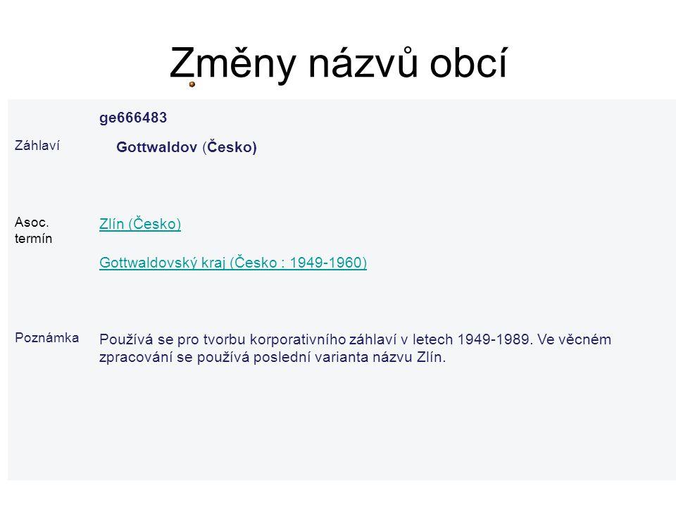 Změny názvů obcí ge666483 Gottwaldov (Česko) Zlín (Česko)