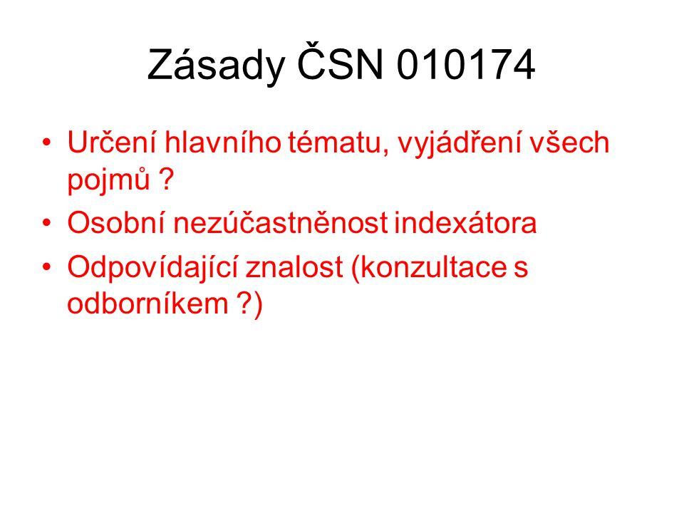 Zásady ČSN 010174 Určení hlavního tématu, vyjádření všech pojmů