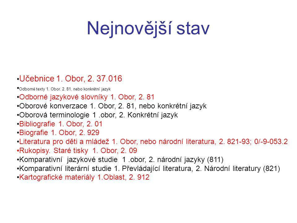 Nejnovější stav •Učebnice 1. Obor, 2. 37.016