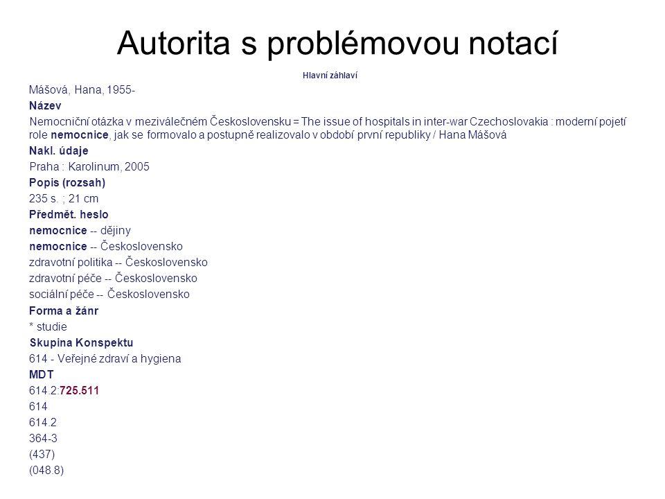 Autorita s problémovou notací