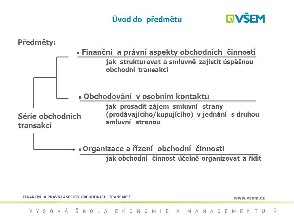  Finanční a právní aspekty obchodních činností