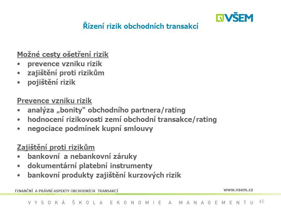 Řízení rizik obchodních transakcí