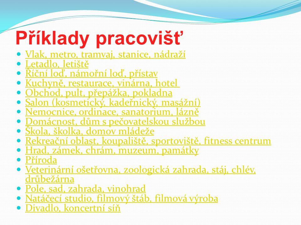 Příklady pracovišť Vlak, metro, tramvaj, stanice, nádraží