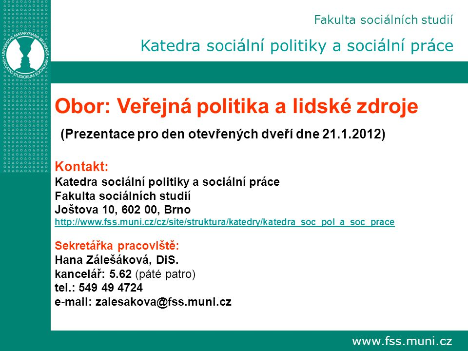 Obor: Veřejná politika a lidské zdroje