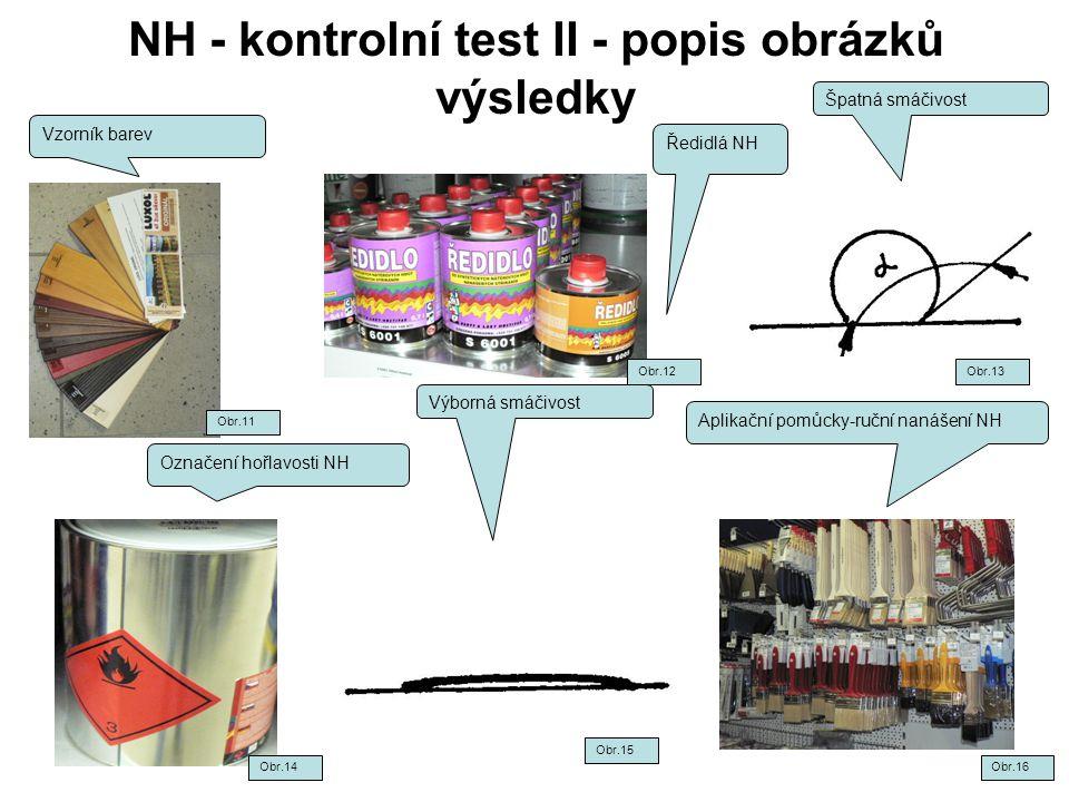 NH - kontrolní test II - popis obrázků výsledky