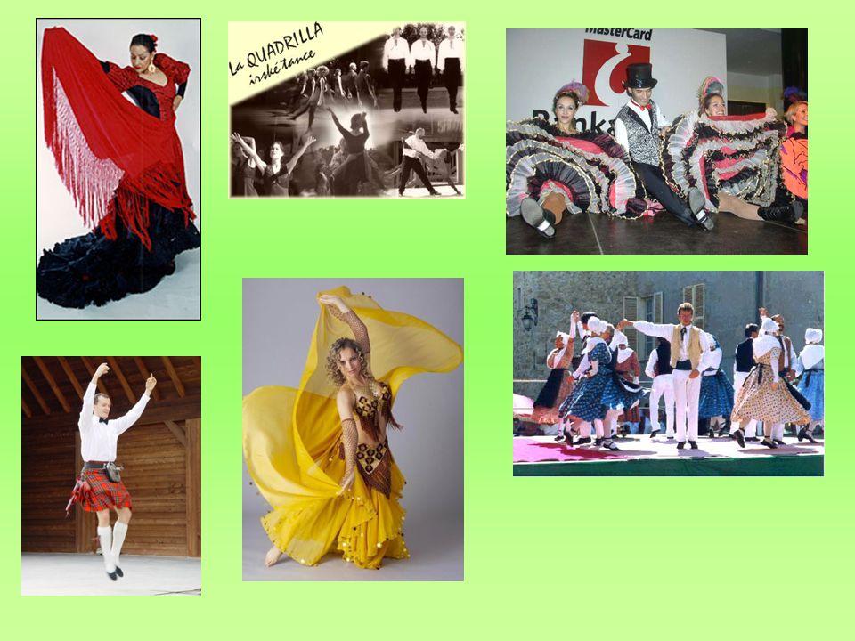 Flamenco; irské tance; kankán; mazurka; morris dancing – mečový tanec;břišní tanec