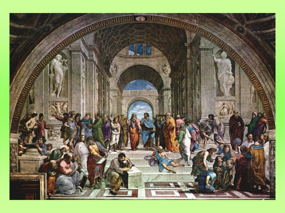 Athénská škola: obraz vytvořený pro výzdobu vatikánských stanzí; měl vzdát hold antické filosofii; jsou zde přední představitelé