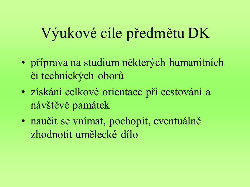 Výukové cíle předmětu DK