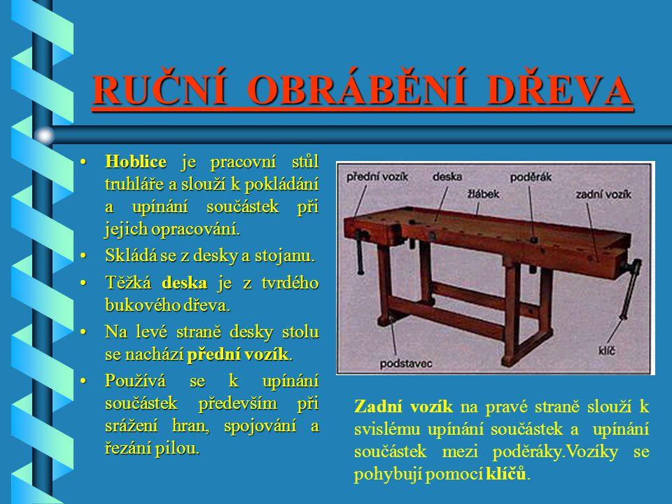RUČNÍ OBRÁBĚNÍ DŘEVA Hoblice je pracovní stůl truhláře a slouží k pokládání a upínání součástek při jejich opracování.