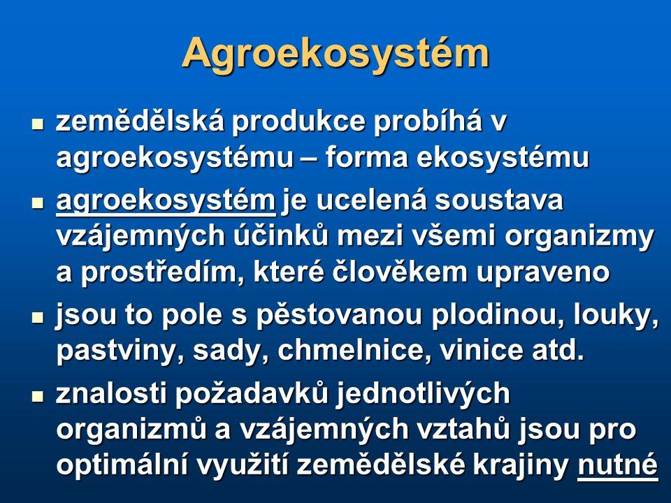 Agroekosystém zemědělská produkce probíhá v agroekosystému – forma ekosystému.