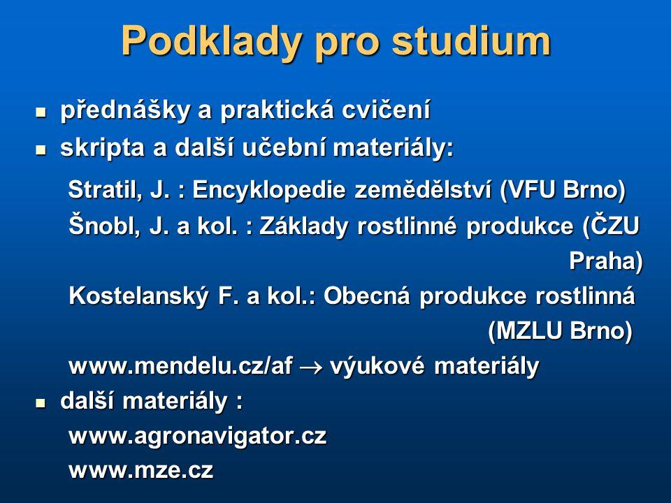 Podklady pro studium Stratil, J. : Encyklopedie zemědělství (VFU Brno)