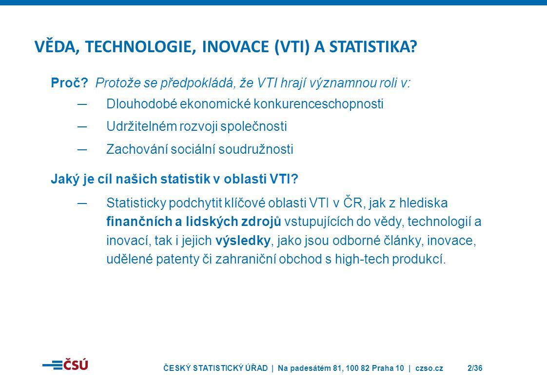 VĚDA, TECHNOLOGIE, INOVACE (VTI) A STATISTIKA