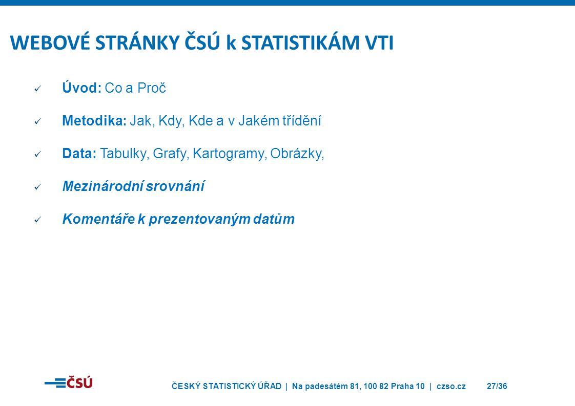 WEBOVÉ STRÁNKY ČSÚ k STATISTIKÁM VTI
