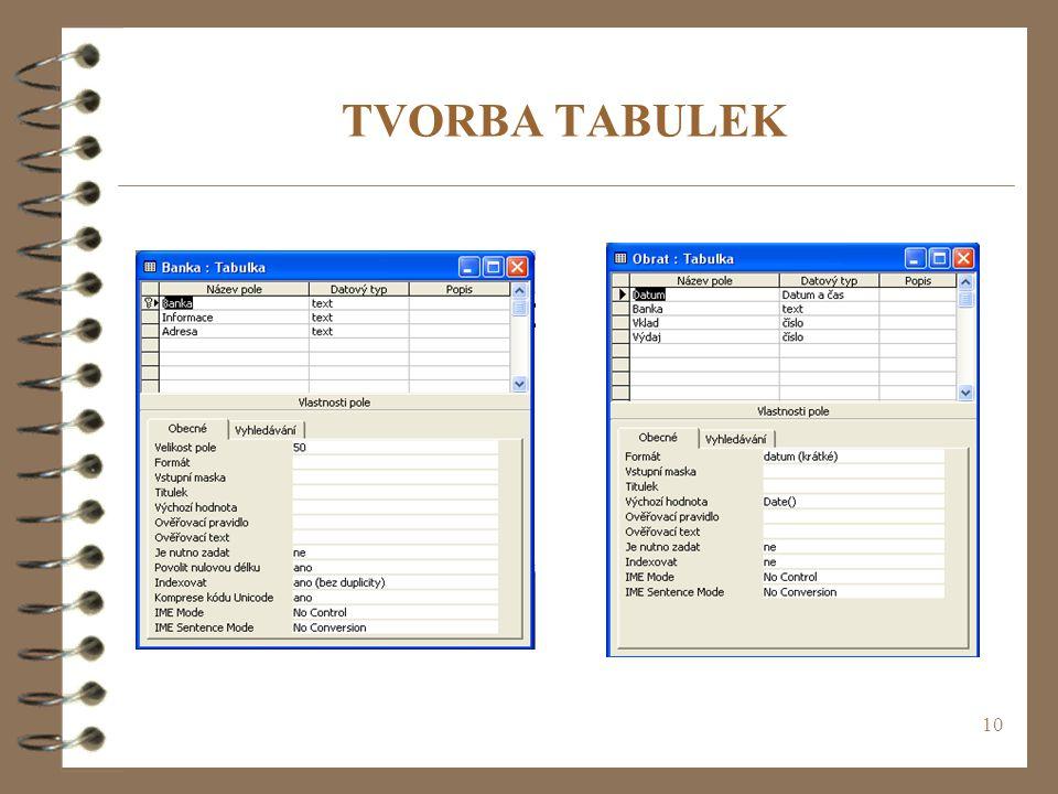 TVORBA TABULEK