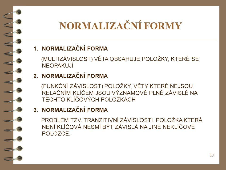 NORMALIZAČNÍ FORMY NORMALIZAČNÍ FORMA