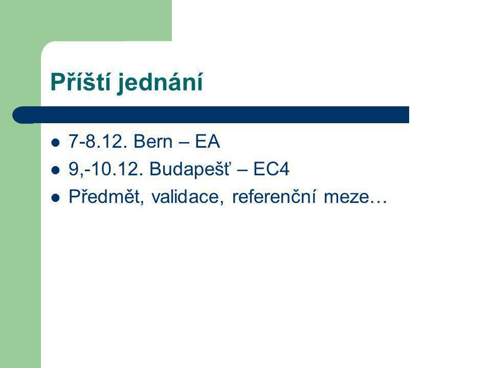 Příští jednání 7-8.12. Bern – EA 9,-10.12. Budapešť – EC4