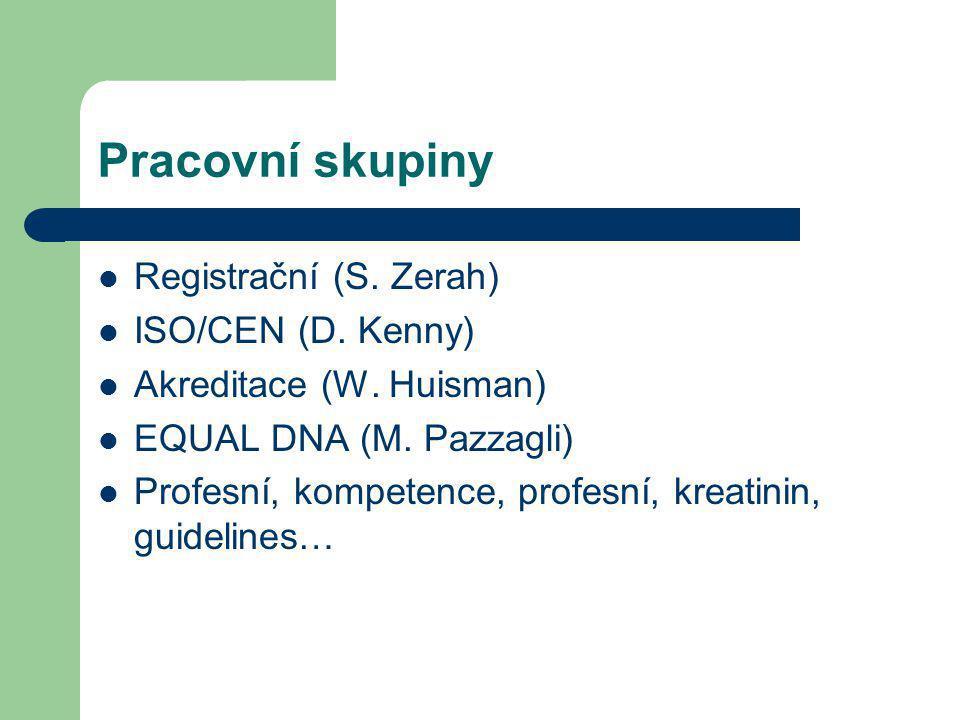 Pracovní skupiny Registrační (S. Zerah) ISO/CEN (D. Kenny)