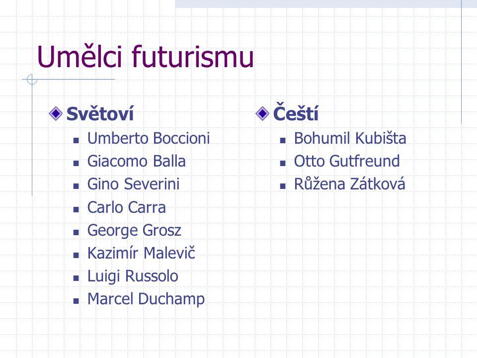Umělci futurismu Světoví Čeští Umberto Boccioni Giacomo Balla