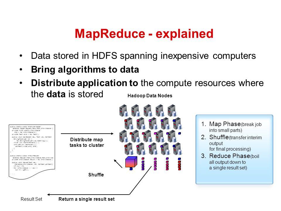 Distribute map tasks to cluster Return a single result set